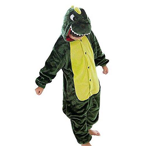 Tier Kostüme Schlafanzug Mädchen Jungen Winter Nachtwäsche Tieroutfit Cosplay Jumpsuit grün dinosaurier Körpergröße 115-124cm (Dinosaurier Weihnachten)