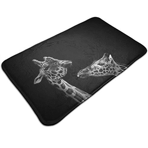 Tappetino antiscivolo in visco elastico, due giraffe, tappeto shaggy, moquette bianca e nera, decorazioni per la casa, zerbino lavabile in lavatrice/asciugatura rapida/anti-affaticamento 40x60cm