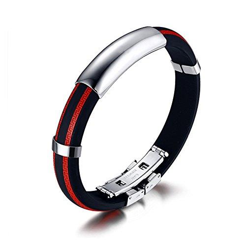 AIUIN Schmuck Armband für Männer, Biker Armband, Gummi-Edelstahl,Chinesische Mauer Rot,mit Einer Schmucktasche