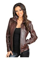 Classic Fitted Zip Up Biker Real Leather Jacket For Women Nicole Brown Casual Garment
