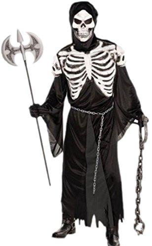 erdbeerclown–Hombre Alma atrapasueños Esqueleto para Carnaval Disfraz, M de XL, negro