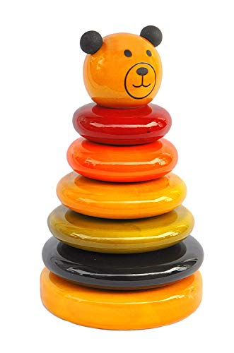 VINPRAS Wooden Handcrafted Colour Rings Cubby Stacker Toy for Toddlers