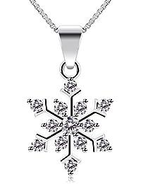 B.Catcher Mujer Collar Plata de Ley 925 copos de nieve ''La Reina de las Nieves'' con Para Regalo San Valentín Originales Cadena 45cm Longitud