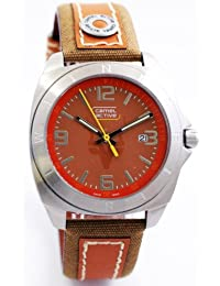 CAMEL ACTIVE A661.3523C - Reloj analógico de caballero de cuarzo con correa de piel naranja - sumergible a 30 metros