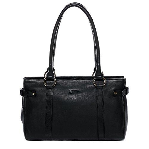 Nappa Leder Schulter Tote (BACCINI® Handtasche mit langen Henkeln NOEMI - Damen Schultertasche groß Ledertasche - Handtasche Damentasche echt Leder schwarz)