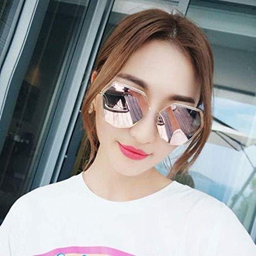 Polygonal Sonnenbrille weiblichen koreanischen Version der Retro-Retro-Sonnenbrille Mode Brille rundes Gesicht Goldrahmen grauer Film (HD polarisierte Version), Goldrahmen Pulver Ring Pulver (HD pola
