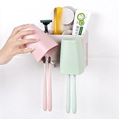 YASJIA 2/3 / 4Racks Staubgeschützter Wand-Zahnbürstenhalter mit Mundwasserbecher - Für den Badezimmer-Familienhalter, für Erwachsene und Kinder, 2 Racks