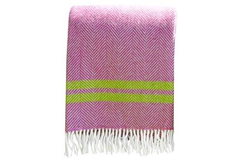 100% Wolle Decke. Lammwolle Decke. Wolle Decke. Wolle Überwurf. Pink und Grün. Decke für Camping. Decke für Garten. Decke für Camping (Lammwolle Wolle)
