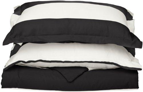 Impressions Superior - Weiches, knitterfestes Bettbezugsset mit Cabana-Streifen, 173 x 218 cm, Fadenzahl 600, Baumwollmischung, schwarz, 2-teilig. -