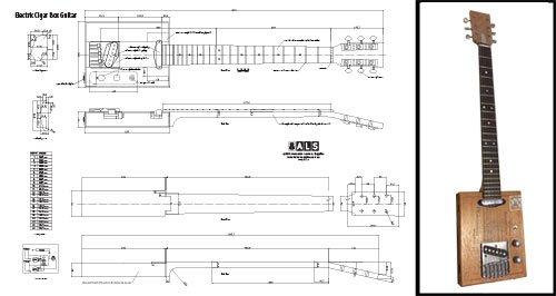 Plan de Una (6cuerdas) eléctrico Cigar Box Guitar–Escala completa impresión