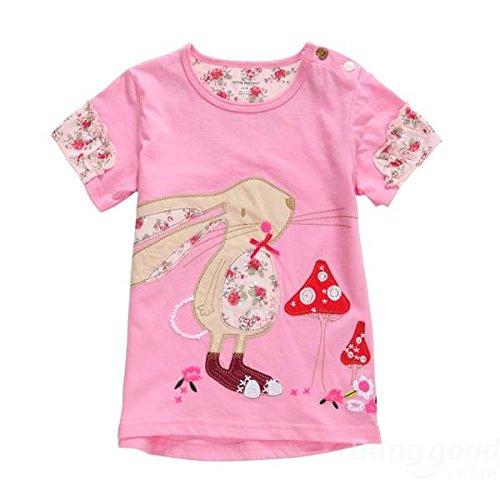 mark8shop 2015New Little Maven Baby Mädchen Kinder Kaninchen Rose Rot Baumwolle Short Sleeve T-Shirt Tee -
