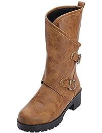 Tefamore Botas de Mujer Altas Invierno Cuero Zapatos 2018 Invierno Botas  Denieve Cómodo Calzado Informal con 3c33d902a7b2