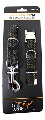 lovely-harris-tweed-dog-lead-and-collar-set-in-brown-and-ochre-fleck-available-in-3-sizes