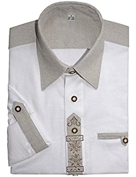 Best-Quality Trachtenhemd Herren Langarm Kurzarm 100% Baumwolle Edelweiß Legenden-Stickerei - Weiß