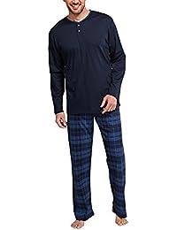 Schiesser Selected Premium Anzug Lang Mit Knopfleiste, Ensemble de Pyjama Homme