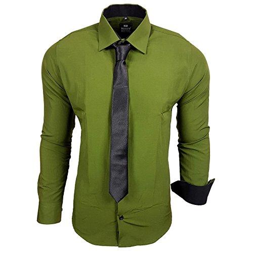 R-44-KR Herren Kontrast Hemd Business Hemden mit Krawatte Hochzeit Freizeit Fit, Farbe:Khaki;Größe:XL (Fit Khaki)