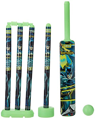 Batman Cricket Set with 1 Plastic Bat and Ball, 4 Wickets, Base and Bail