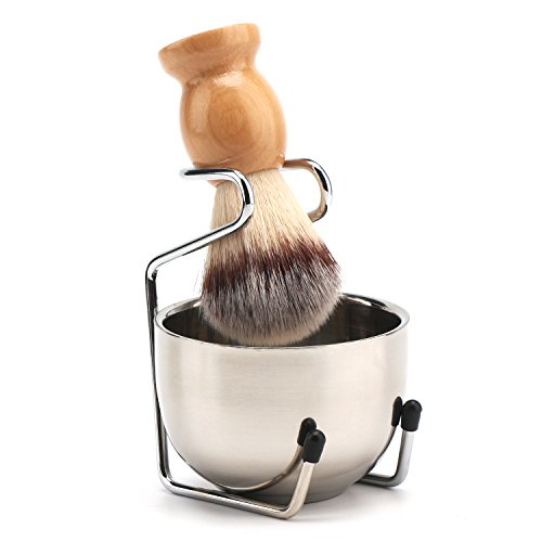 Segbeauty Shaving Brush, Stainless Steel Beard Shaving Soap Bowl, Shave Cream Mug and Stand Holder, Beard Cleaning Wet Shave Lather Bowl Men's Grooming Kit
