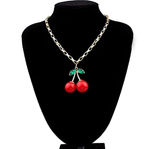 Atdoshop(TM)les femmes de la mode cerise pendentifs en strass goutte balance bijoux collier
