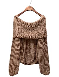 Sweet Womens Boat Neck Sweater Batwing Off Shoulder Knit Jumper Pullover Tops Khaki