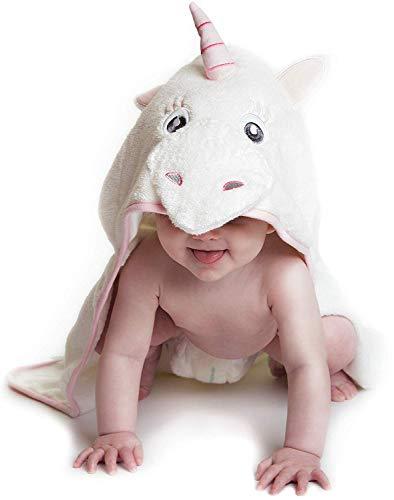 Little Tinkers World Einhorn Baby Badetuch | Kapuzenhandtuch | babyhandtuch |100% flauschige Baumwolle | Perfekt als Geschenk für Neugeborene, Kleinkinder, Kleinkinder, Mädchen | 75x75 cm