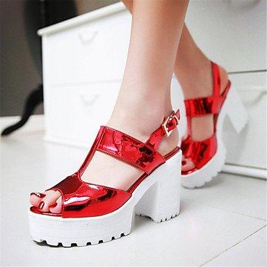 LvYuan Damen-Sandalen-Kleid Lässig-Lackleder-Blockabsatz-Creepers-Lila Rot Silber Grau Purple