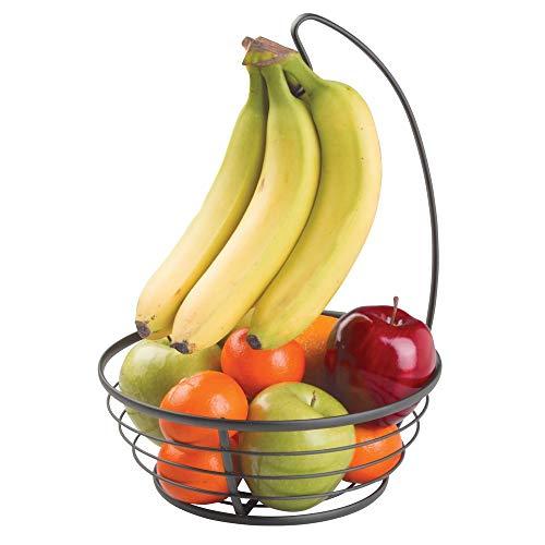 mDesign Obstkorb mit Bananenhaken aus Metall - moderne Obstschale mit Bananenhalter für die Arbeitsfläche - praktischer Früchtekorb für Obst und Gemüse - mattschwarz