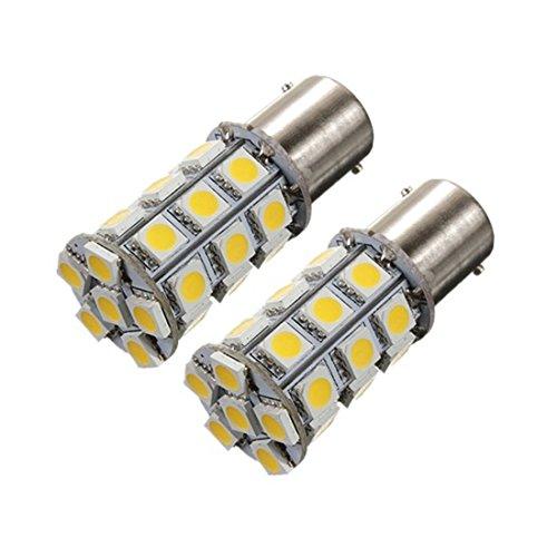 AUTO Luce - TOOGOO(R)2x 1156 BA15s P21W 5050 27-SMD RV AUTO Luce Bianco Caldo 3000K-3500K DC 12V