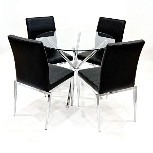Febland 90cm Round Glass Criss Cross Table with Four Alberta Dining Chairs, Chrome, Black, One Size