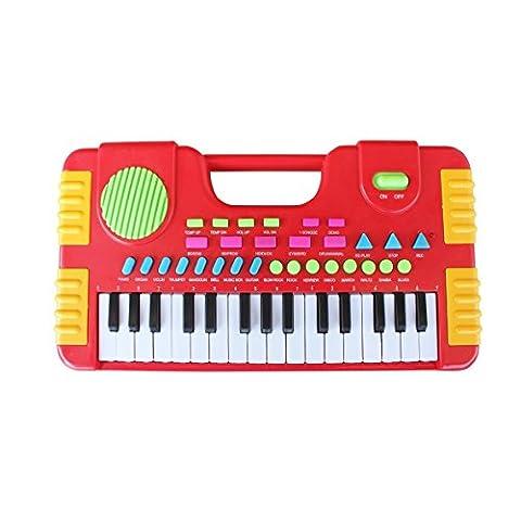 31 Tasten Kinder Piano Spielzeug, Shayson Synthesizer-Multi-Funktions-Tastatur spielen Klavier elektronische Orgel pädagogisches Spielzeug für Kinder Geschenk (rot)