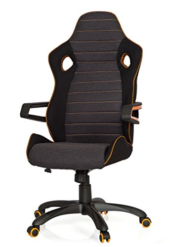 41OyP2vCeyL - hjh OFFICE 621850 RACER PRO IV - Silla gaming y oficina, tejido negro/gris/naranja