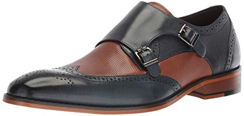 Double Wingtip (STACY ADAMS Men's LaVine Wingtip Double Monk Strap Loafer)