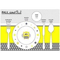 Conjunto de mesas pedagógicas, conjunto de mesa infantil, tema de búho, tonos amarillos y grises