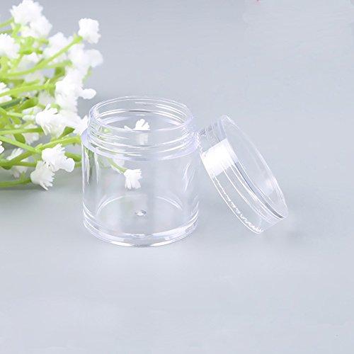 Furnido 12 pcs 10 g vide Plastique Transparent Maquillage Nail Art Perle Boîte de rangement portable Cosmétique Crème clair Pot de fleurs en pot en pot échantillon de baume à nourriture Emballage Crème bocaux de voyage
