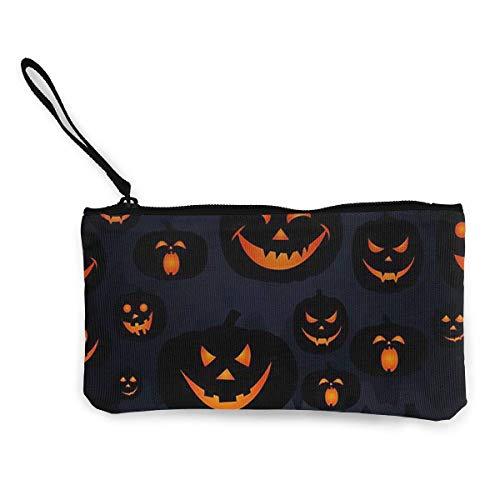liangxiquguidaojiaotongshe Coin Purse Halloween Jack O Lantern Cute Travel Makeup Pencil Pen Case With Handle Cash Canvas Zipper Pouch 4.7
