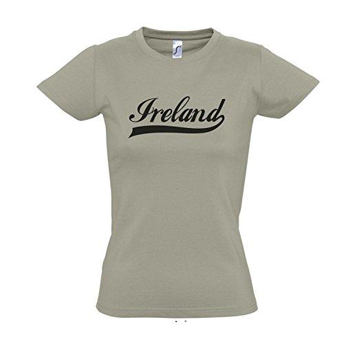 Damen T-Shirt - Irland Oldschool Ireland LÄNDERSHIRT EM / WM FAN Trikot S-XXL , Khaki - schwarz , M