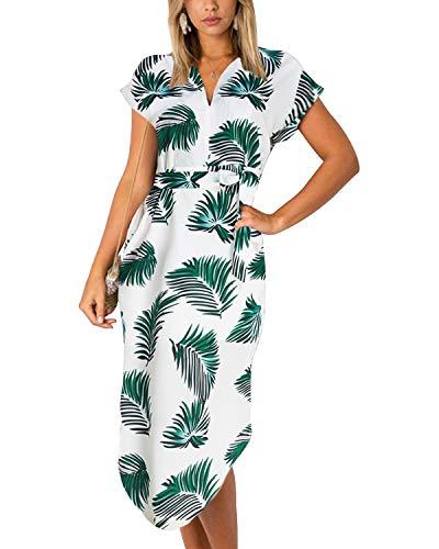 YOINS Robe Longue Femme Été Chic Robes Imprimé Florale Sexy Dress Robe de Plage Asymétrique Robe Tunique Maxi Une Ligne, Feuilles-vert, EU 32-34