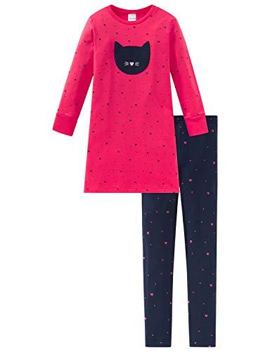 Schiesser Mädchen Cat Zoe Md Anzug lang Zweiteiliger Schlafanzug, Rot (Rot 500), (Herstellergröße: 128)