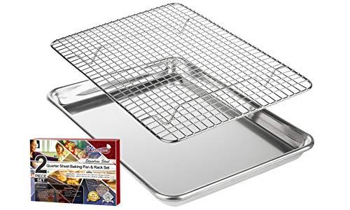 KITCHENATICS Plat à rôtir et à pâtisserie en Aluminium avec Grille en Acier Inoxydable: Plat à Biscuits avec Grille de Refroidissement - 24,4 x 33 CM