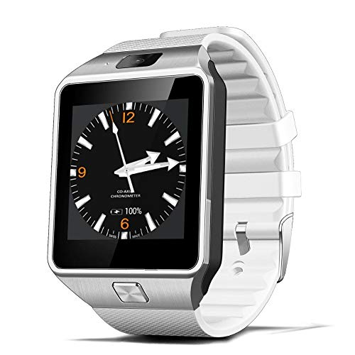 ZJTA Dz09 Smart Watch, Touch Screen Cell Phone with SIM Card Slot Smart Watches Fitness Tracker Unlocked Universal GSM Bluetooth Compatible Android and Ios,White Unlocked Touch Screen Cell Phone