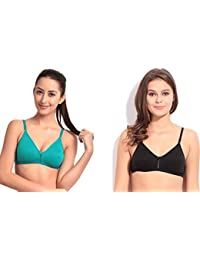 acbb8597bf Floret Katrina Women s T-Shirt Non Padded Bra Black and Robin Blue (Pack of