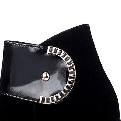 VogueZone009 Damen Mattglasbirne Niedrig-Spitze Reißverschluss Hoher Absatz Stiefel Schwarz