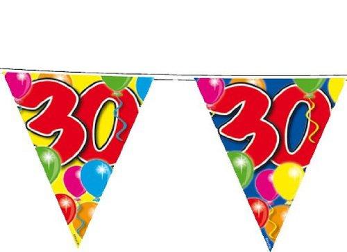 Wimpelkette, 15 Wimpel, bunter Ballondruck, 30. Geburtstag, 10 (Geburtstag Online Dekorationen)