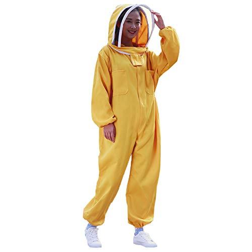 JQJPJOSIE Einteiliger Anzug aus Baumwolle mit beiden Kapuze hinten und rundem Hut, traditionell, Apricot gelb und rot orange -