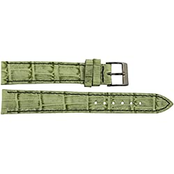 Watch Strap in Green Leather - 16mm - Alligator grain - buckle in Silver stainless steel - B16GreAli59S
