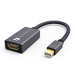 IVANKY Displayport Hdmi Adapter, Mini Displayport auf HDMI, 20cm, Nylon Thunderbolt auf Hdmi Adapter geeignet für MacBook Air/Pro, Microsoft Surface Pro, Monitor, Projektor und weitere - Grau