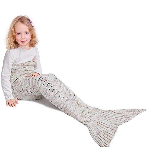 Coperta mermaid per bambini,a coda a forma di sirena, coperta per divano letto, soggiorno con sirenetta, 140 * 70cm (bambino ondulato bianco)