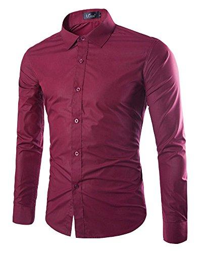 Dianshao uomo casual tinta unita camicia slim fit manica lunga bluse bodeaux l