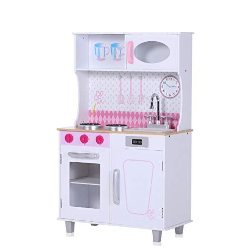 Baby Vivo Cocina Juguete Madera Rosa Microondas Niños