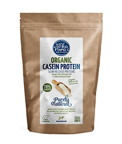 Organic Casein Protein - Natural - 78% Protein - from Grass Fed Cows - 500g